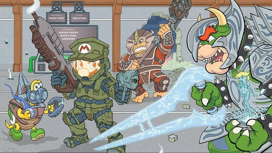 Mario And Halo Crossover Art