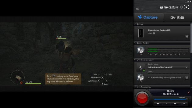 The Game Capture HD Interface