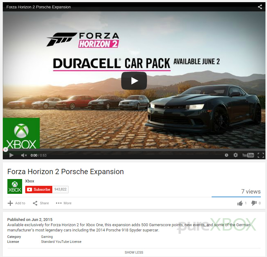 forza horizon 2 porsche expansion accidentally leaked by microsoft xbox news. Black Bedroom Furniture Sets. Home Design Ideas